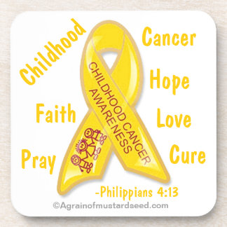 Childhood Cancer Awareness Phil 4:13 Coaster