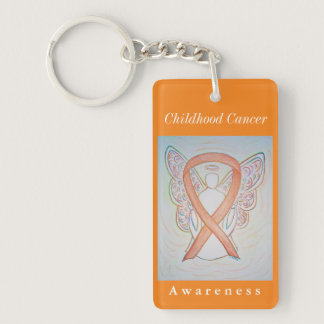 Childhood Cancer Awareness Ribbon Angel Keychain
