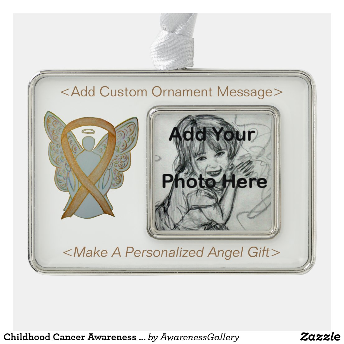 Childhood Cancer Awareness Ribbon Angel Ornaments