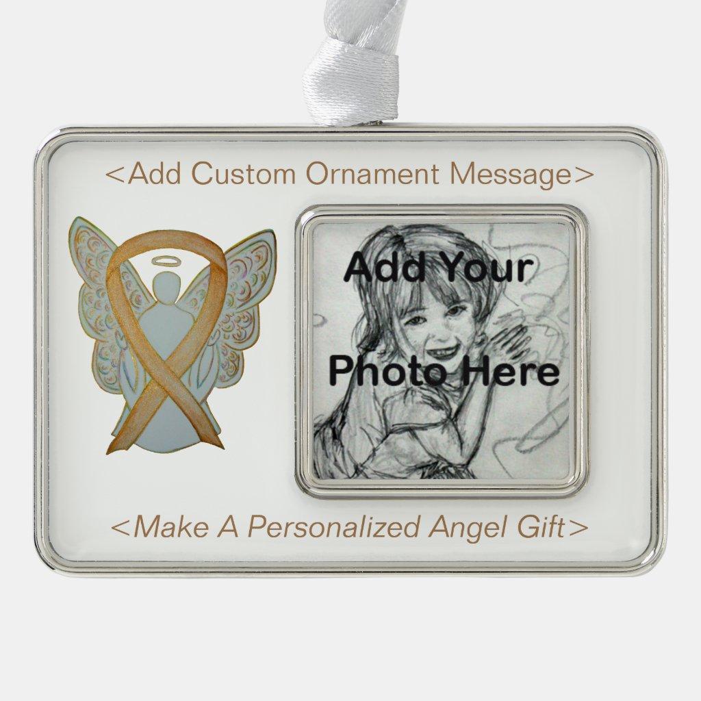 Childhood Cancer Awareness Ribbon Angel Ornaments