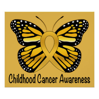 Childhood Cancer Awareness Ribbon with Heart Poster