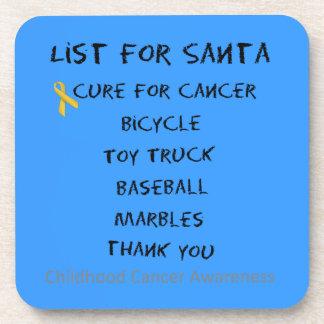 Childhood Cancer Awareness Santa List Boys Beverage Coaster