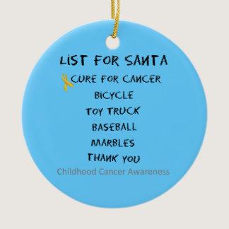 Childhood Cancer Awareness Santa List Boys Ceramic Ornament