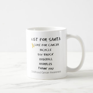 Childhood Cancer Awareness Santa List Boys Coffee Mug