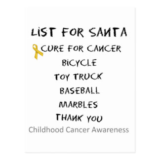 Childhood Cancer Awareness Santa List Boys Post Cards