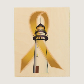 Childhood Cancer Awareness with Lighthouse Wood Print
