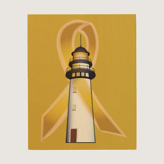 Childhood Cancer Awareness with Lighthouse Wood Wall Decor