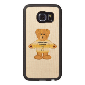 Childhood Cancer Awareness with Teddy Bear Wood Phone Case