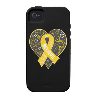 Childhood Cancer Believe Ribbon Heart iPhone 4 Cover