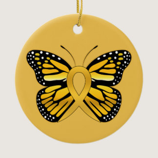 Childhood Cancer Butterfly Awareness Ribbon Ceramic Ornament
