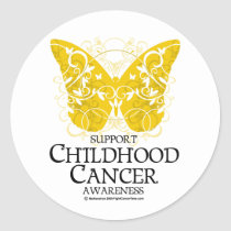 Childhood Cancer Butterfly Classic Round Sticker