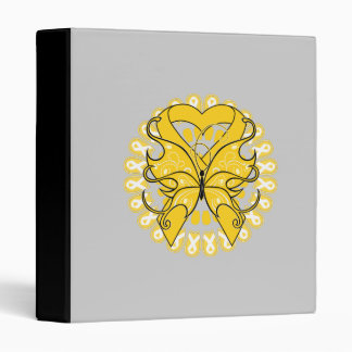 Childhood Cancer Butterfly Heart Ribbon 3 Ring Binders