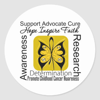 Childhood Cancer Butterfly Inspirations Classic Round Sticker