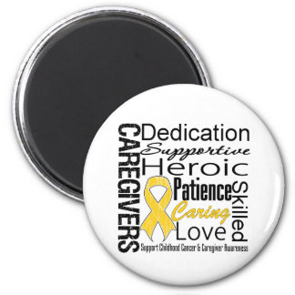 Childhood Cancer Caregivers Collage 2 Inch Round Magnet
