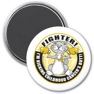 Childhood Cancer Cat Fighter 3 Inch Round Magnet