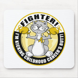 Childhood Cancer Cat Fighter Mouse Pad