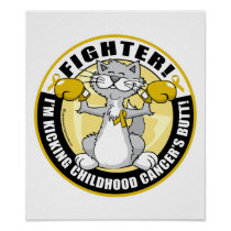 Childhood Cancer Cat Fighter Poster