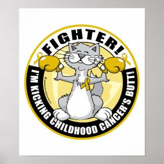 Childhood Cancer Cat Fighter Poster