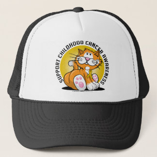 Childhood Cancer Cat Trucker Hat