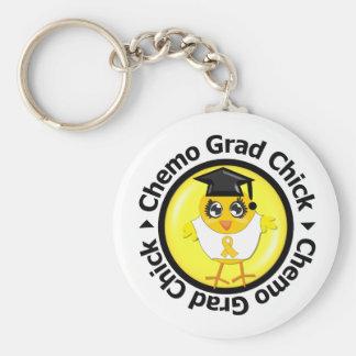 Childhood Cancer Chemo Grad Chick Keychain