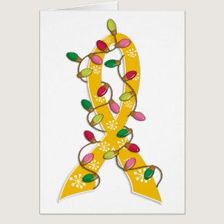 Childhood Cancer Christmas Lights Ribbon Card