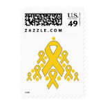 Childhood  Cancer Christmas Ribbon Tree Postage Stamps