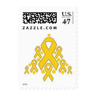 Childhood  Cancer Christmas Ribbon Tree Postage Stamp