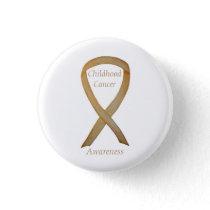 Childhood Cancer Custom Gold Awareness Ribbon Pins