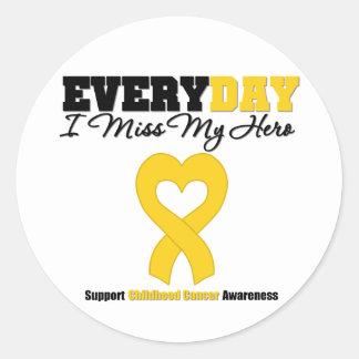 Childhood Cancer Every Day I Miss My Hero Classic Round Sticker