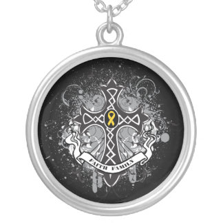 Childhood Cancer - Faith Family Prayer Cross Round Pendant Necklace