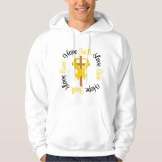 Childhood Cancer Faith Hope Love Cross Hoody