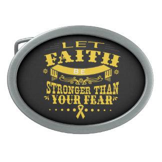 Childhood Cancer Faith Stronger than Fear Belt Buckle