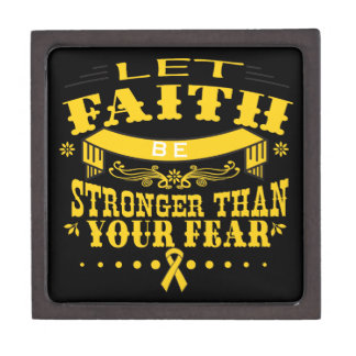 Childhood Cancer Faith Stronger than Fear Jewelry Box