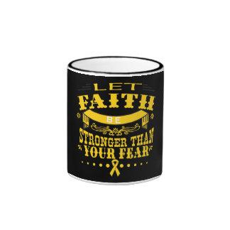 Childhood Cancer Faith Stronger than Fear Ringer Mug