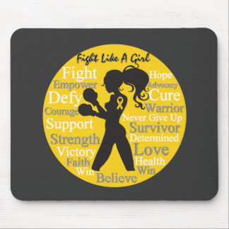 Childhood Cancer Fight Like A Girl Warrior Collage Mousepad