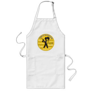 Childhood Cancer Fight Strong Motto Collage Long Apron