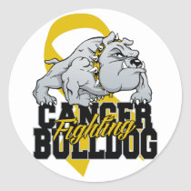 Childhood Cancer Fighting Bulldog Classic Round Sticker