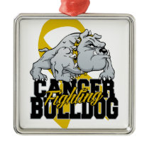 Childhood Cancer Fighting Bulldog Metal Ornament