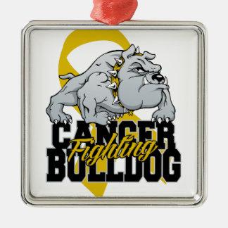 Childhood Cancer Fighting Bulldog Metal Ornament