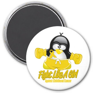 Childhood Cancer Fighting Penguin 3 Inch Round Magnet