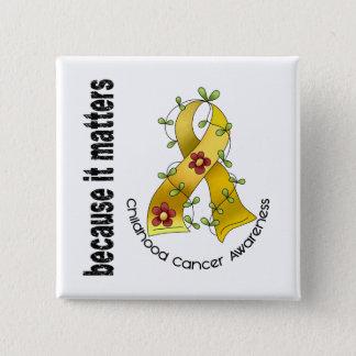 Childhood Cancer Flower Ribbon 3 Button