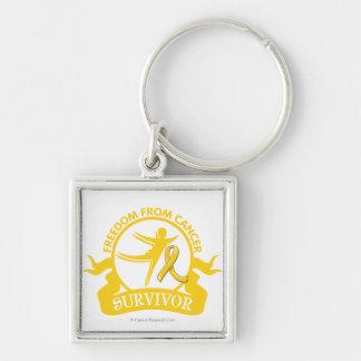 Childhood Cancer - Freedom From Cancer Survivor Silver-Colored Square Keychain