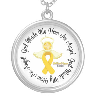 Childhood Cancer God Made My Hero An Angel Round Pendant Necklace