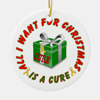 Childhood Cancer Gold Awareness Ribbon Christmas Ceramic Ornament