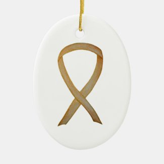 Childhood Cancer Gold Awareness Ribbon Ornaments