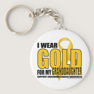 Childhood Cancer Gold for Granddaughter Keychain