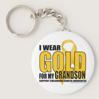 Childhood Cancer Gold for Grandson Keychain