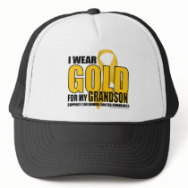 Childhood Cancer Gold for Grandson Trucker Hat