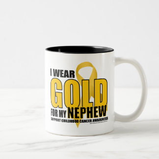 Childhood Cancer Gold for Nephew Two-Tone Coffee Mug