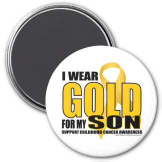 Childhood Cancer Gold for Son 3 Inch Round Magnet